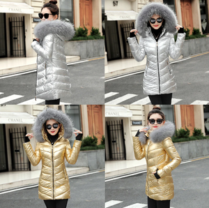 Autumn/Winter Metallic Female Long Jacket Winter Coat Women
