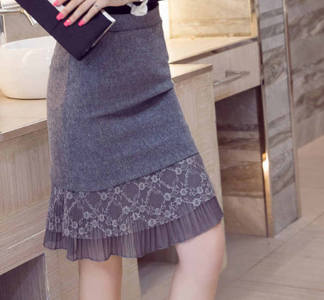 Korean Vintage Lace Patchwork High Waist Gray Black Midi Skirt