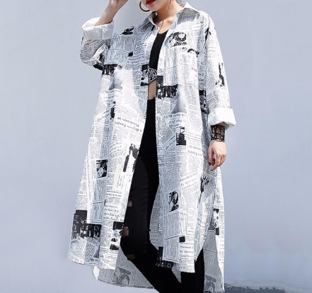 Autumn/Spring Newspaper Print Jacket