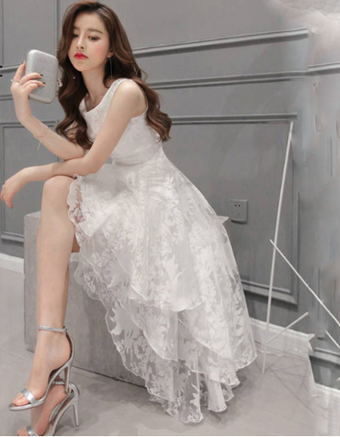 Korean Vintage Organza Layered Dresses