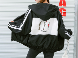 Ulzzang Harajuku All-match Womens Striped Zipper Cartoon Printed Jacket