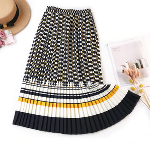 Elegant Pleated Autumn Vintage Print Skirt