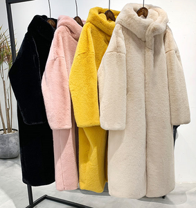 Winter Faux Rabbit Fur Coat Thick Warm Long Trench Parka Hooded Jacket