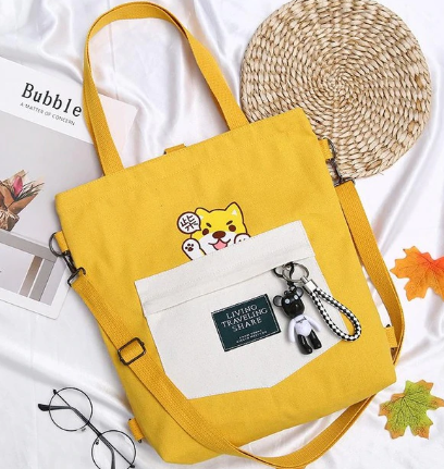 Shiba Inu Messenger Dog School Bags Canvas Cross Body