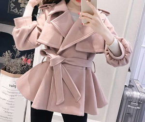 Pink Wool Lantern Sleeve Overcoat