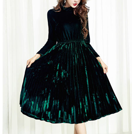 Korean Vintage Velvet Turtleneck Dress