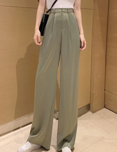 High Waist Wide Leg Straight Trousers