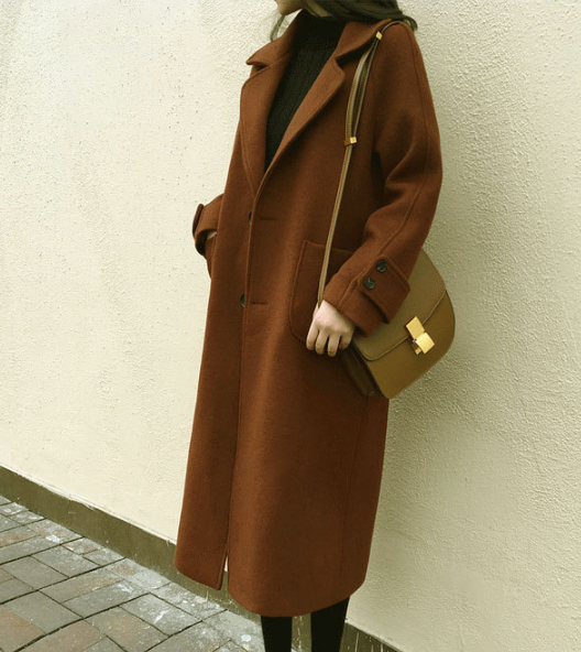 Korean Single Breasted Woolen Coat