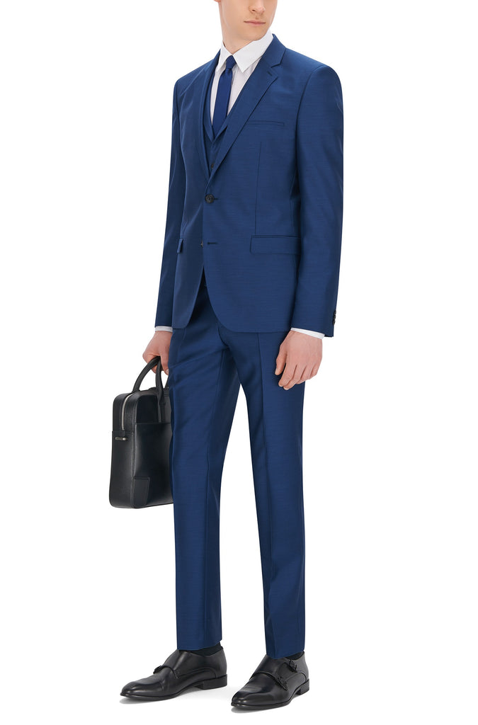 HUGO Red - Adlon Slim-fit three-piece suit in virgin wool