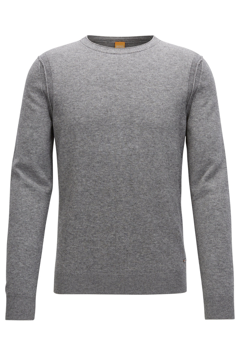 BOSS Orange - Albonon Contrast-seam knitted sweater (Grey)
