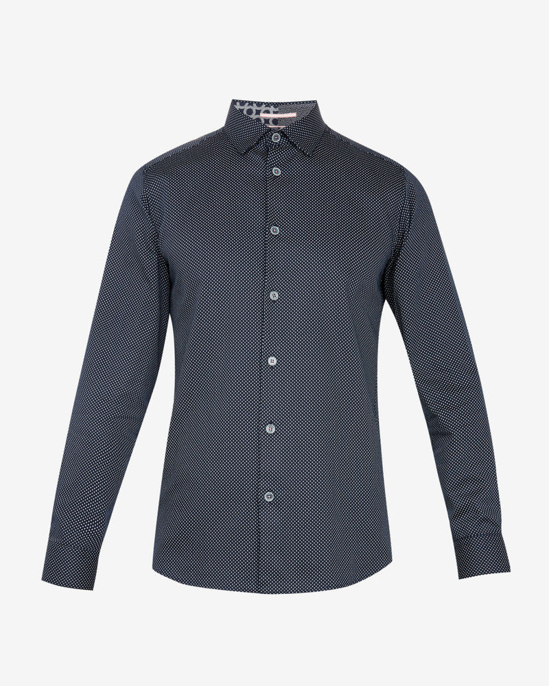 Ted Baker - Boomtwn Micro-Geo Printed Shirt (Navy)
