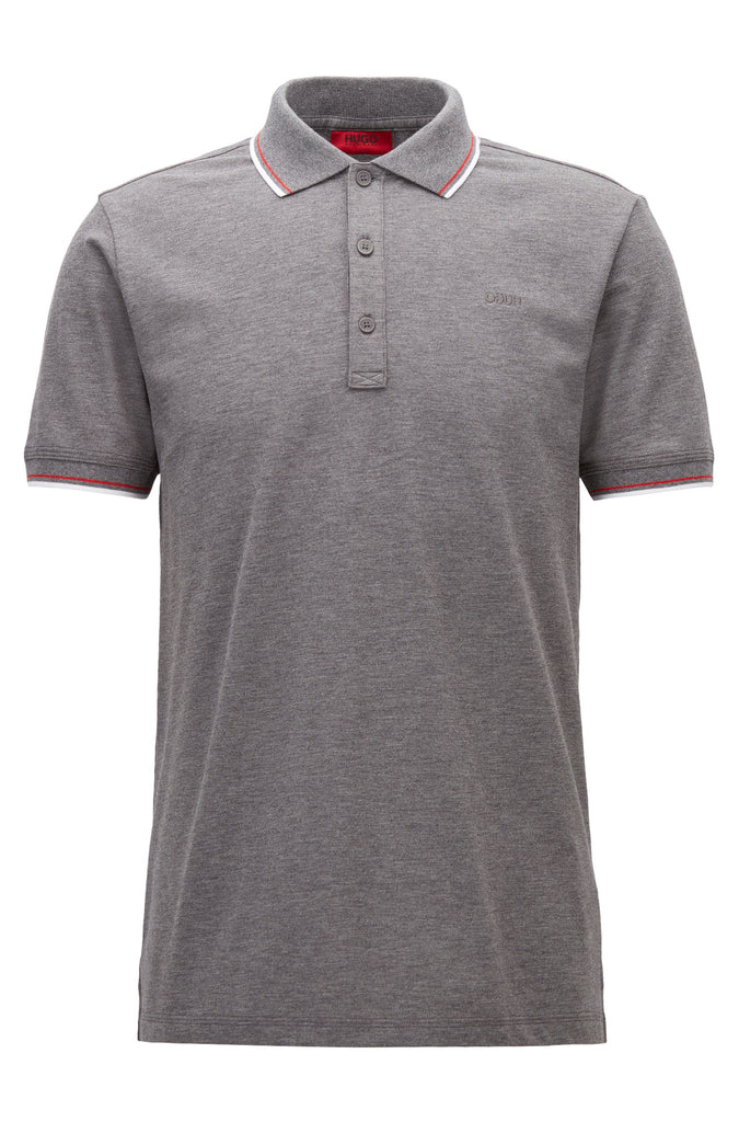 HUGO Red - Dasto Tipped slim-fit polo shirt in stretch cotton (Grey)