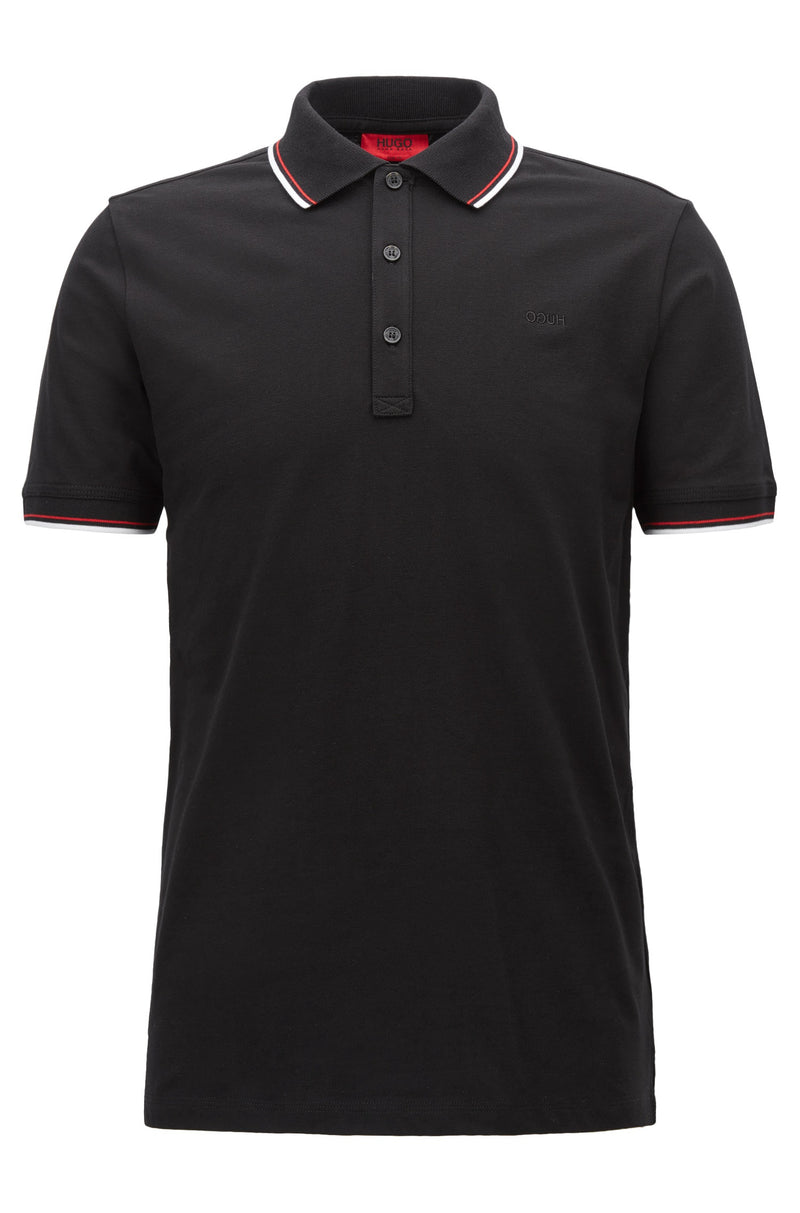 HUGO Red - Dasto Tipped slim-fit polo shirt in stretch cotton (Black)