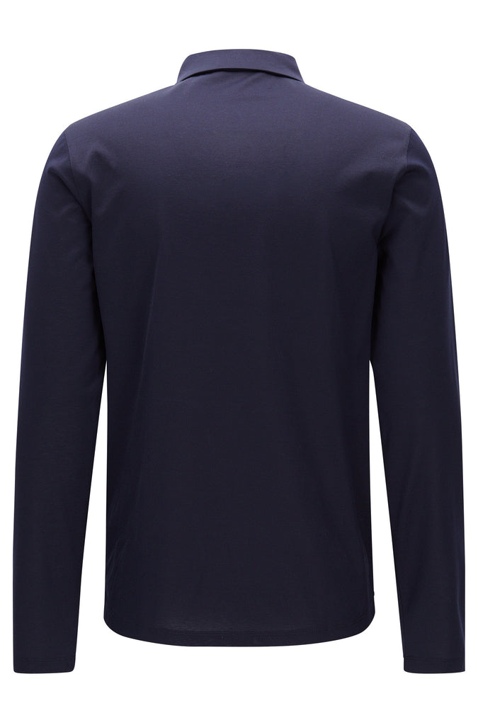 HUGO Red - Demons Long-sleeved slim-fit polo shirt in mercerised cotton