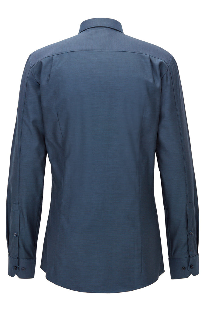 HUGO Red - Elisha Modern structured cotton shirt in a slim fit (Navy)