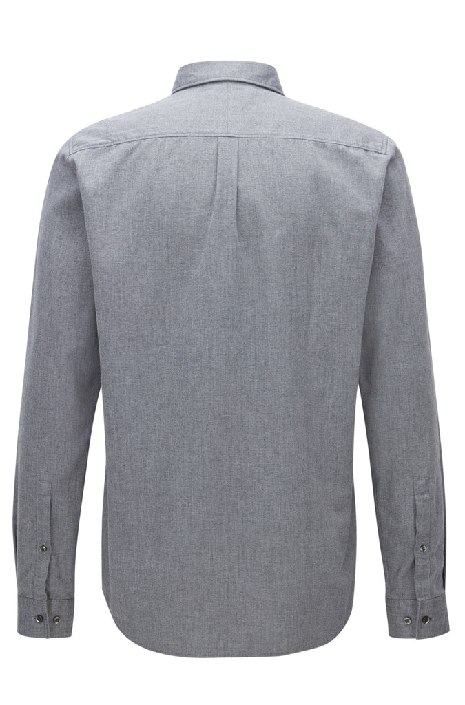 HUGO Red - Emingway Relaxed-fit mouline shirt in mid-weight corduroy (Grey)