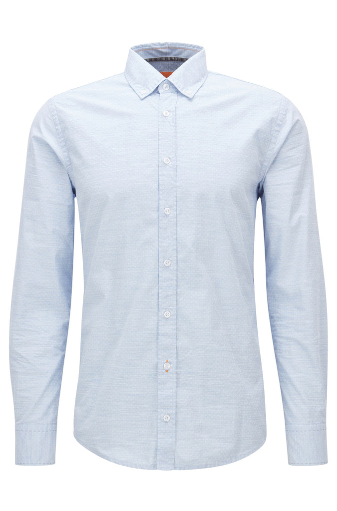 BOSS Orange - Epreppy Slim-fit shirt in heathered cotton