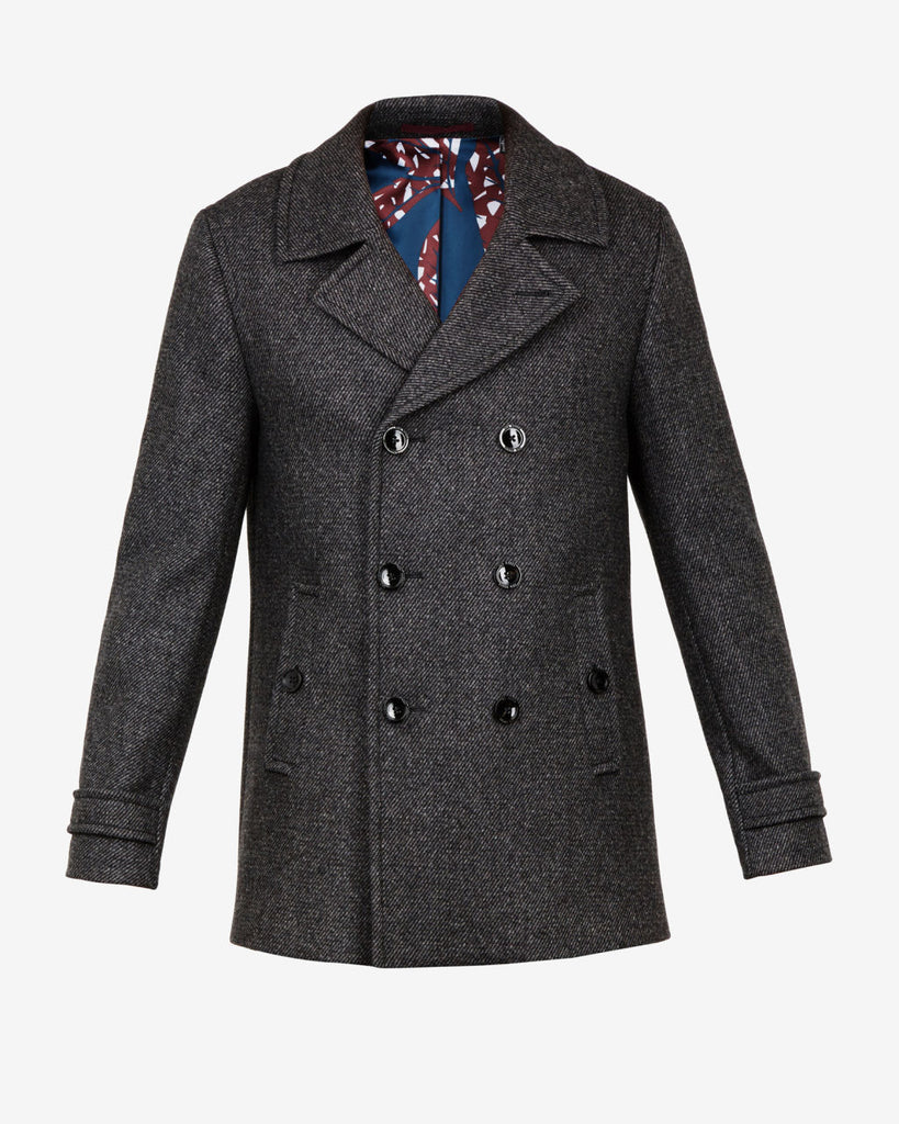 TED BAKER - GRILLD DOUBLE BREASTED WOOL PEA COAT