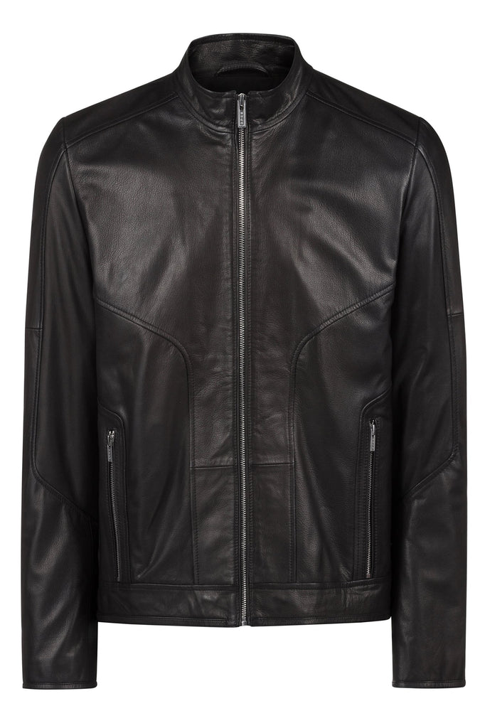 HUGO BOSS - Lemson Slim-fit Biker Leather Jacket