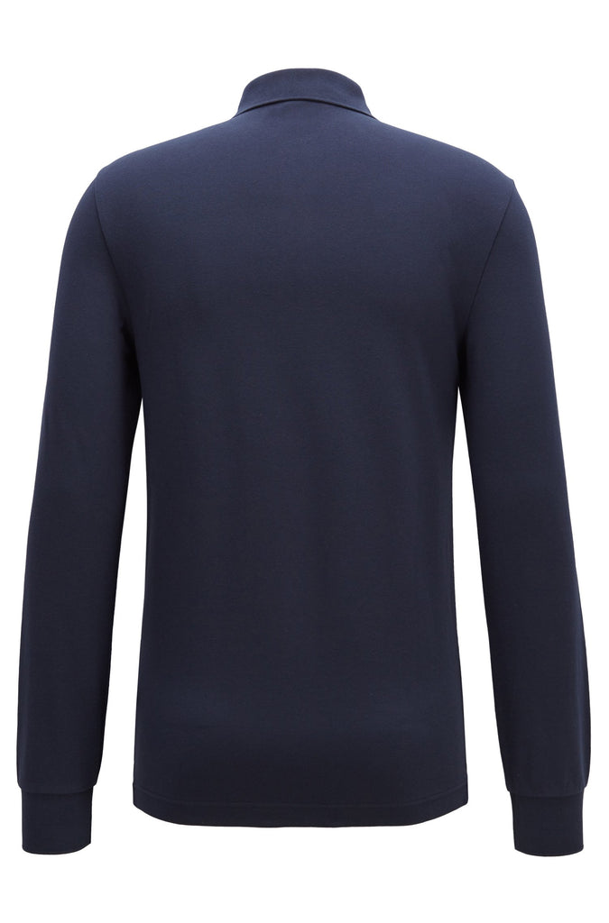 HUGO BOSS - PASSERBY LONG SLEEVE COTTON PIQUE POLO