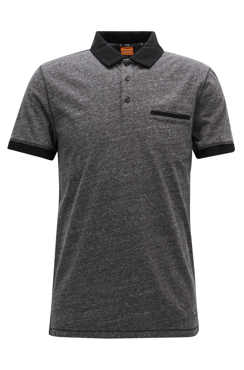 BOSS Orange - Push Regular-fit polo shirt in heathered jersey