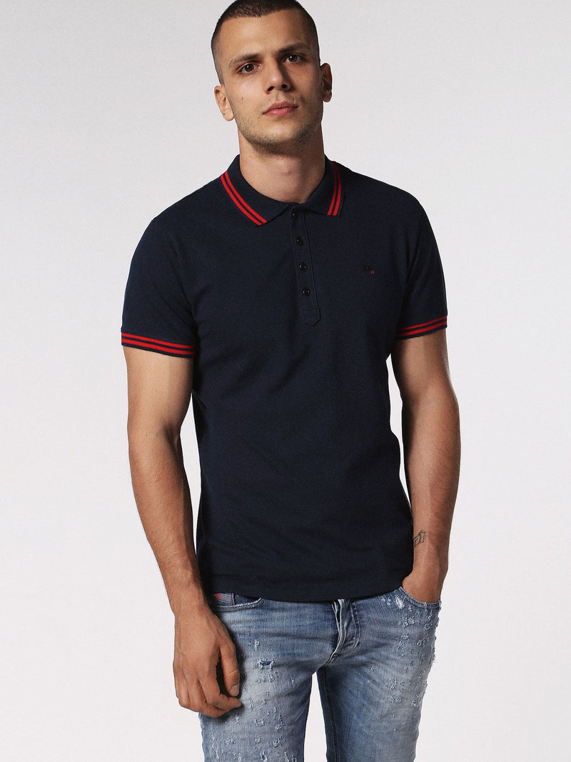 Diesel - Randy stretch cotton tipped polo (Navy)