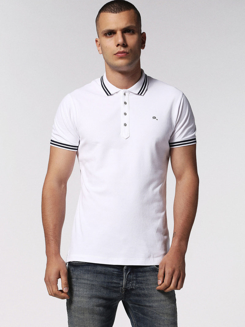 Diesel - Randy stretch cotton tipped polo (White)
