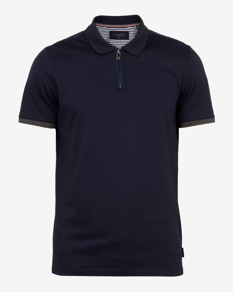 TED BAKER - SNIKA ZIP DETAIL POLO SHIRT (NAVY)