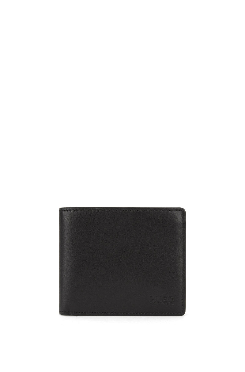 HUGO Red - Subway Bifold wallet in smooth leather (Black)