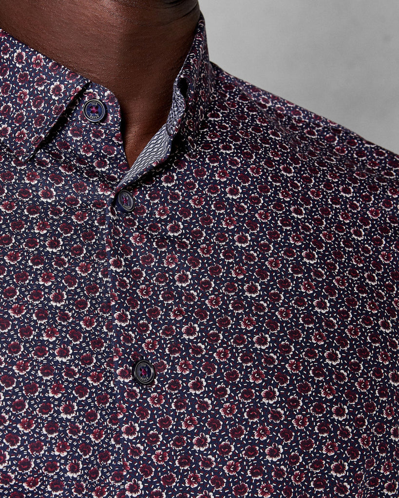 TED BAKER - THORNTO FLORAL PRINTED SHIRT (NAVY)