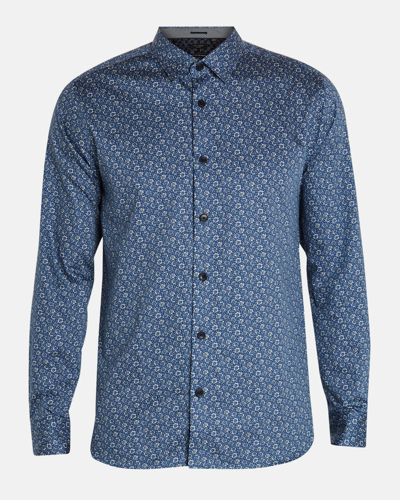 TED BAKER - THORNTO FLORAL PRINTED SHIRT (BLUE)