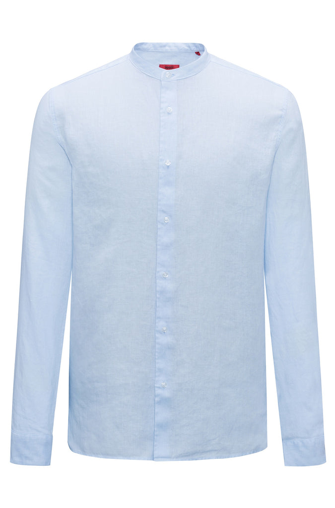 HUGO BOSS - Eddison Linen shirt with stand collar