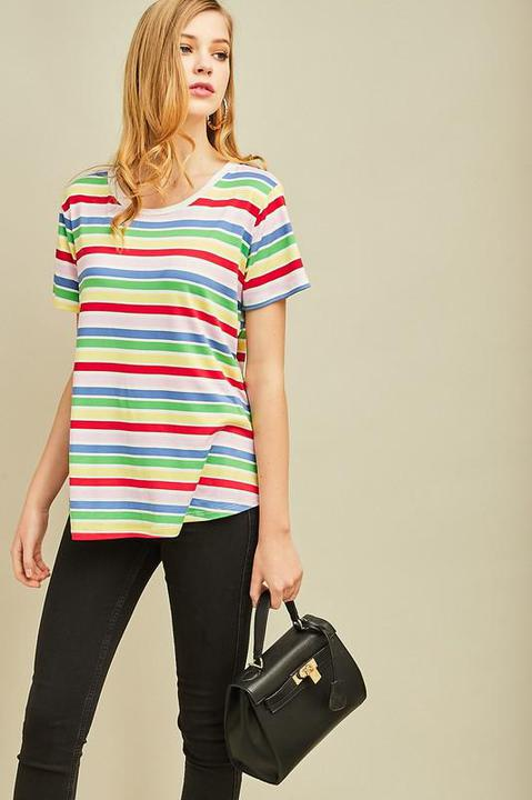 Striped Top - Red/Lemon