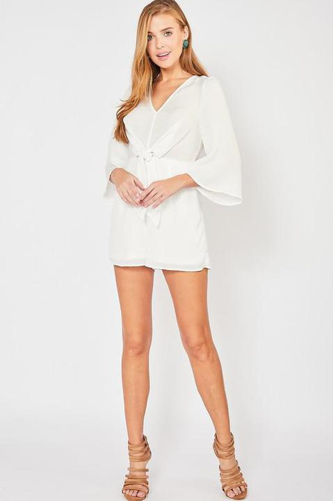 3/4 Sleeve Front Tie Romper - Off White