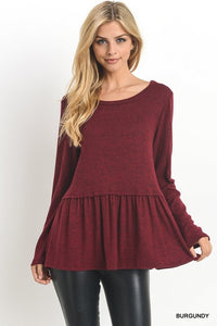 Long Sleeve Peplum Top - Burgundy
