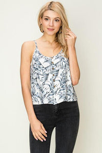 Button Down Tank - Leaf Print