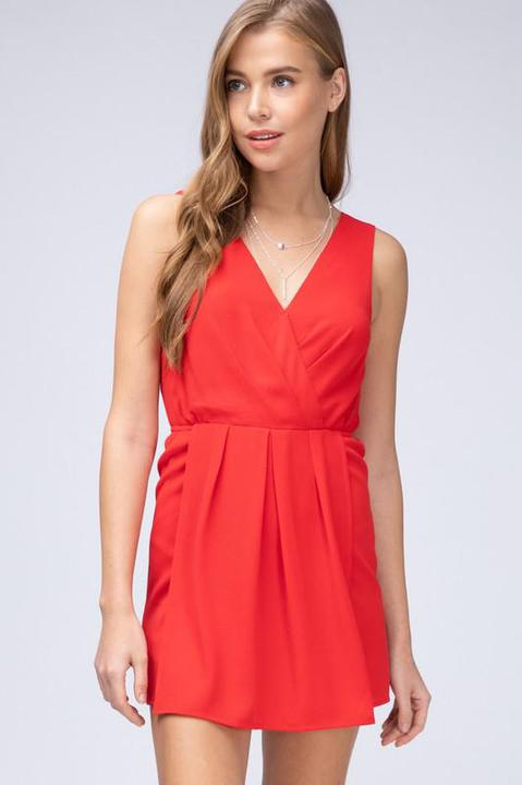 V-Neck Surplice Romper - Red