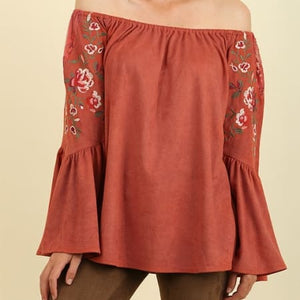 Embroidered Off Shoulder Suede Top Plus - Clay ..
