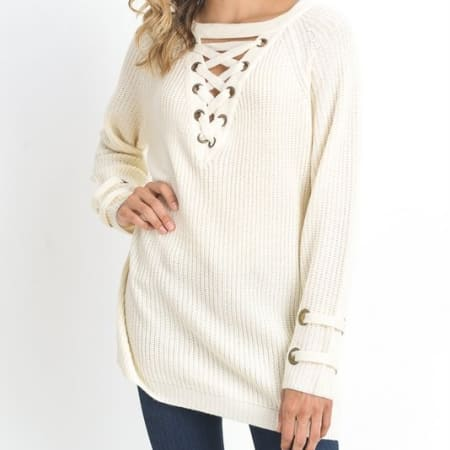 Oversized Lace Up Sweater