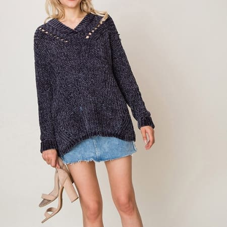 Oversized Sweater - Charcoal/Blue