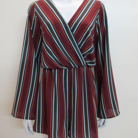 Bell Sleeve Stripe Romper - Wine
