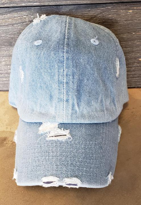 Distressed Light Denim Hat