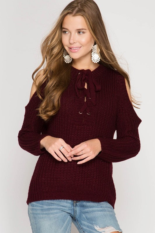 Cold Shoulder Lace-Up Sweater-Burgundy