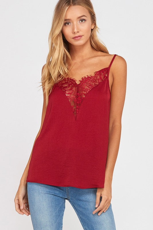 Lace Cami - Burgundy