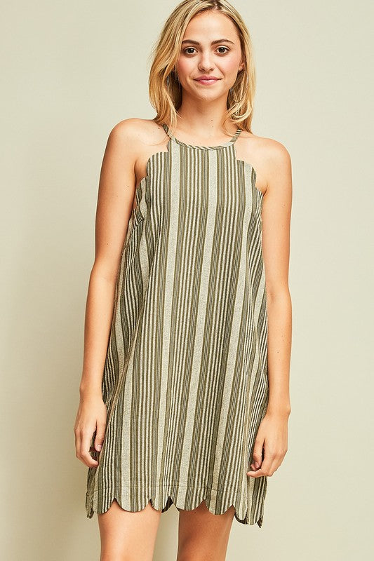 Striped Scalloped Dress - Olive