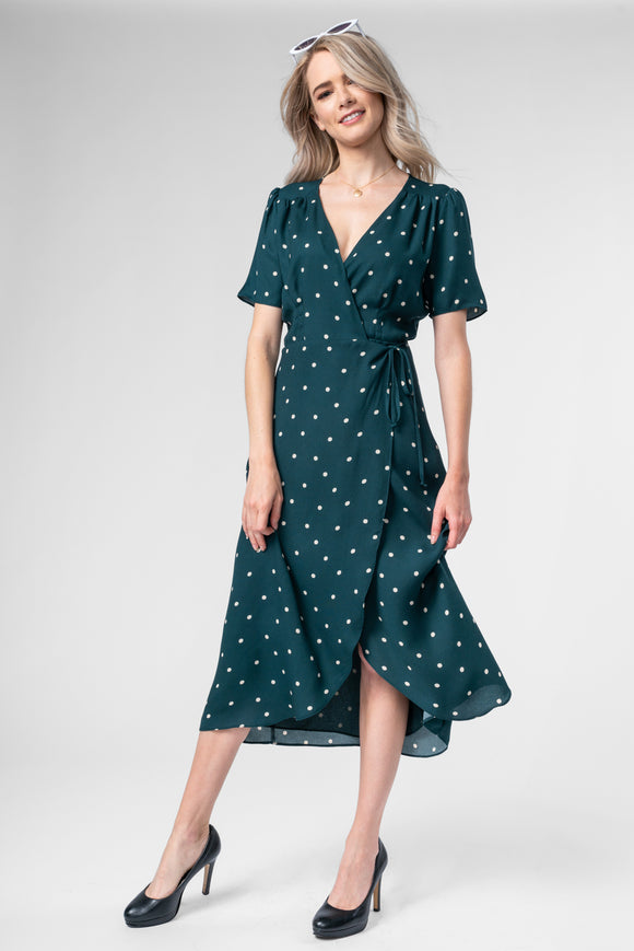 Polka Dot Wrap Dress - Hunter Green
