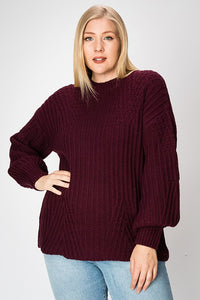 Knit Sweater Plus- Grape