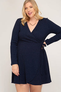 Surplice Knit Dress - Navy
