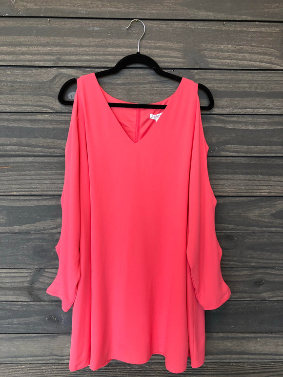 Cold Shoulder Long Sleeve Dress - Coral