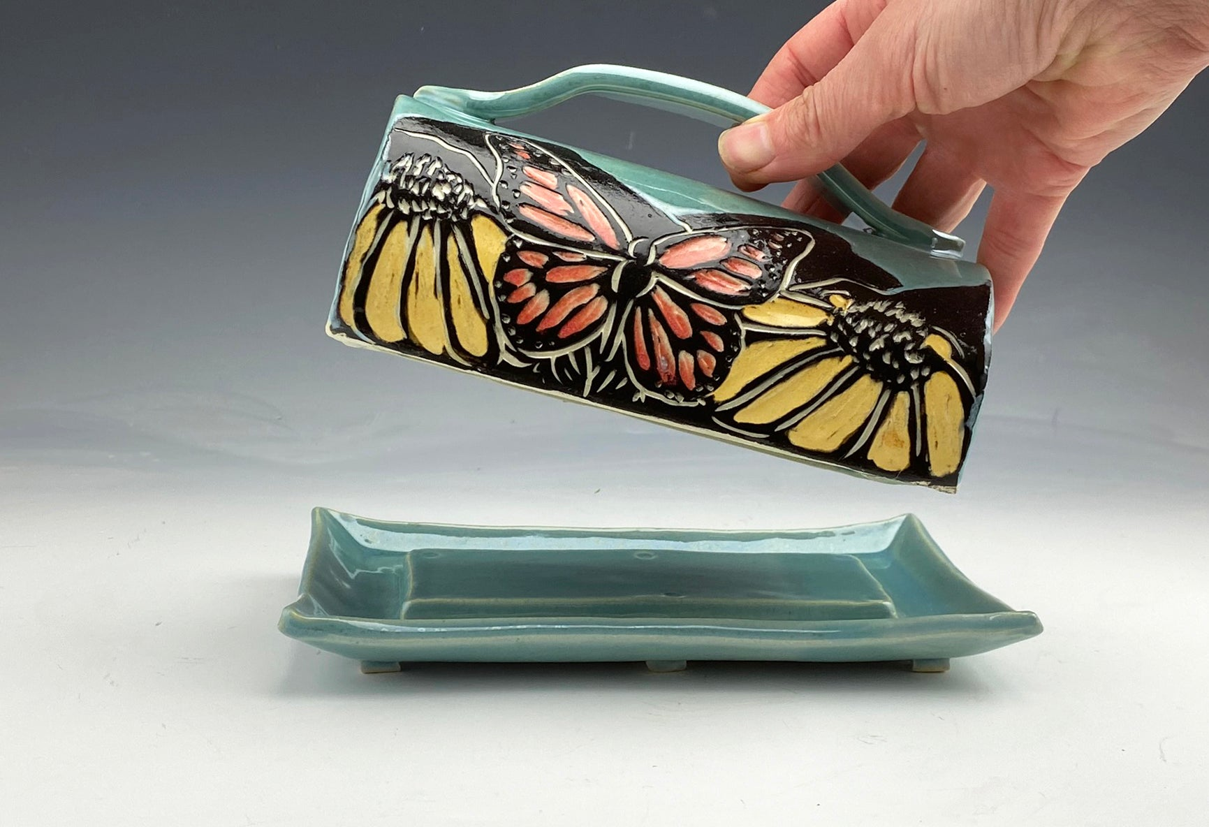 Handmade Monarch Butterfly Butter Dish in Blue